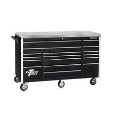 "72"" 17 Drawer Triple Bank Professional Roller Cabinet in Black"
