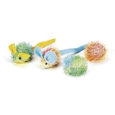 Stringy Mice/Ball Cat Toy (4 Pack)