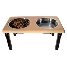 Posture Pro Adjustable Double Pet Diner in Oak