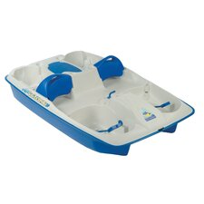 Sun Slider Five Person Pedal Boat with Adjustable Seats in Cream / Blue