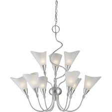 9 Light Chandelier with Satin White Glass Shades