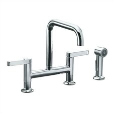 Torq Deck Mount Two Handle Widespread Bridge Kitchen Faucet