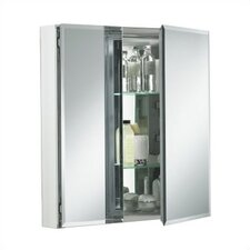 "Double Door 25""W X 26""H X 5""D Aluminum Cabinet with Mirrored Door"