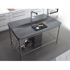"Iron Occasions 63"" x 39"" Island integrated Top and Single Bowl Kitchen Sink with Single Faucet Hole"