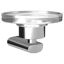 HansaRonda Soap Dish Holder with Clear Crystal Dish in Chrome