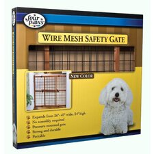 Wood Frame Pet Gate in Mahogany Stain with Coated Wire