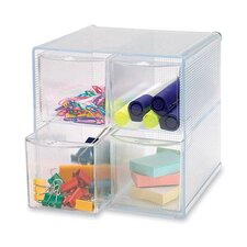 "Storage Organizer, 4 Compartment, 6""x7-1/4""x6"", Clear"