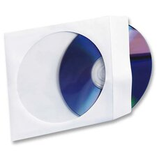 "CD/DVD White Window Envelopes, 5""x5"", White, 100 per Box"
