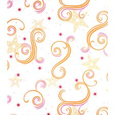 Star Glitter Wallpaper in Orange
