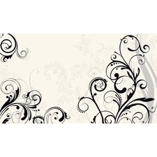 Black Scroll Chair Rail Prepasted Mural