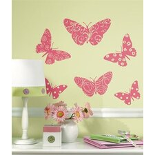 Flocked Pink Butterfly Peel and Stick Wall Decal