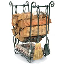 Country Wrought Iron Log Holder with Tools