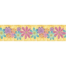 Snap Kids Flirty Flowers Self Stick Wall Border