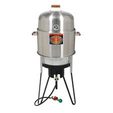 All-In-One Stainless Steel Gas & Charcoal Single Burner Smoker, Grill and Fryer