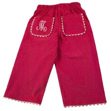 Bon Bon Corduroy Pant with Rick Rack Pocket in Hot Pink with Light Pink Trim