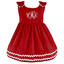 Bon Bon Corduroy Dress in Red with White Trim