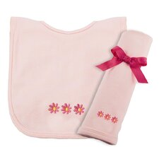 Cotton Knit Bib and Burp Pad Set with Daisy Motif in Pink