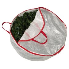 "Storage and Organization 30"" Circular Wreath Bag with Red Trim"