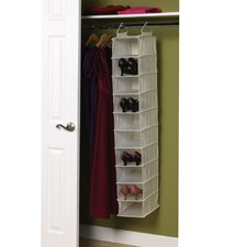 Storage and Organization Ten Pocket Wide Hanging Organizer with Shelves in Natural