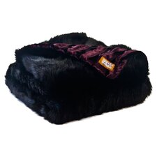 Black Bear Faux Fur Acrylic Throw Blanket with Velvet-Velour Lining
