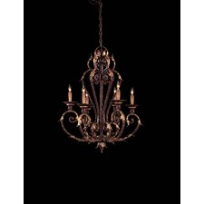 "Zaragoza 27"" Six Light Chandelier in Golden Bronze"