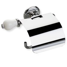 Nemi Wall Mounted Toilet Roll Holder with Cover and End Cap in Chrome/White