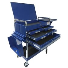 Dlx Service Cart W/Locking Top 4-Drawers Blue