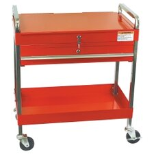 Service Cart W/Locking Top & Drawer Red