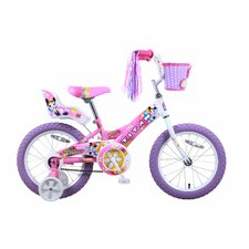 "Girls 16"" Flower Princess Pink and White BMX Bike with Training Wheels"