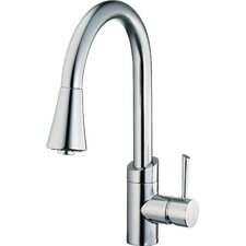 Single Handle Single Hole Spout Reach Pull Down Kitchen Faucet with Metal Lever Handle