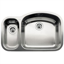 "Wave 32.09"" x 20.88"" x 10"" Reverse Bowl Undermount Kitchen Sink"