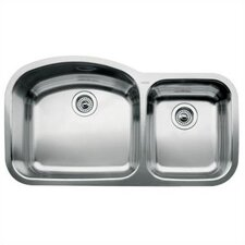 "Wave 37.41"" x 20.88"" x 8"" Bowl Undermount Kitchen Sink"