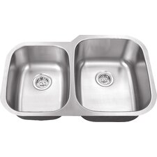 "30"" x 18.75"" Double Bowl 18 Gauge Kitchen Sink"