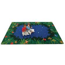 Printed Peaceful Tropical Night Kids Rug