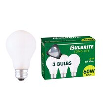 25W General Service A19 Incandescent Bulb in Soft White (Pack of 3)