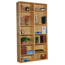 "Heirloom 85.5"" H Double Bookcase in Oak Veneer"