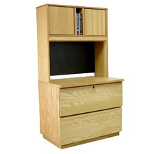 "Modular Real Oak Wood Veneer 36"" H Lateral File Set"