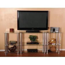 "Extra Tall Glass and Aluminum 82"" TV Stand"