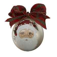 Sarabella Painted Ball Ornament with Mr. Santa Design
