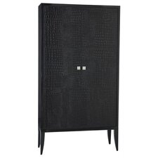 Elle Croc Embossed Leather / Wood Cabinet