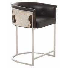 Calvin Top Grainwith Hide Polished Nickel Low Barstool