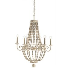 Louis 6 Light Iron / Wood Chandelier