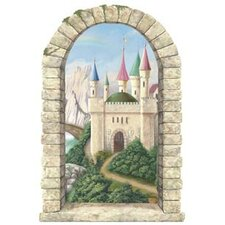 Enchanted Kingdom Mountainview Castle Window Peel and Stick in Multi