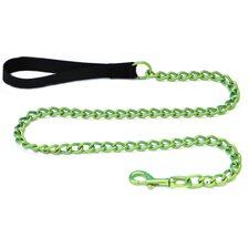Steel Dog Leash with Black Nylon Handle in Corona Lime