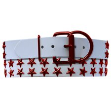 Genuine White Leather Dog Collar with Stars