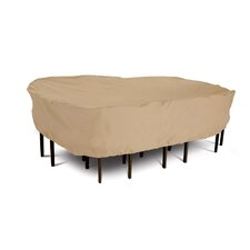 Terrazzo Collection Patio Table and Chair Set Cover in Tan, Medium Rectangular