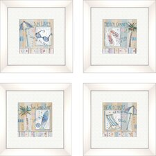 Coastal Sun Lover Framed Art in (Set of 4)