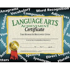 Certificates Language Arts 30/pk