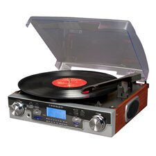 Tech Turntable with LCD Display in Mahogany