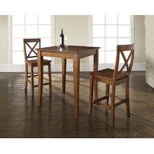 Three Piece Pub Dining Set with Cabriole Leg Table and X-Back Barstools in Classic Cherry